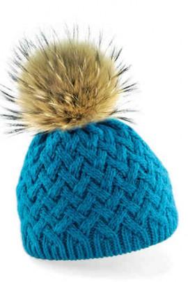 Mütze in türkis mit braunem Fellbommel