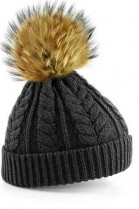 Grey bobble hat with brown fur bobble
