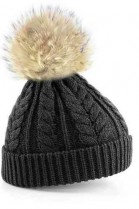 Grey bobble hat with light brown fur bobble