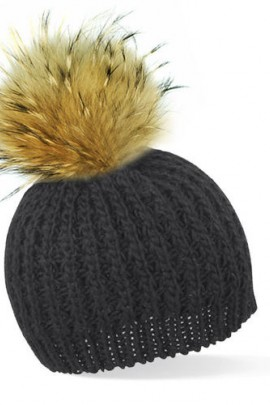 Schwarze Bommelmütze mit braunem Fell-Bommel
