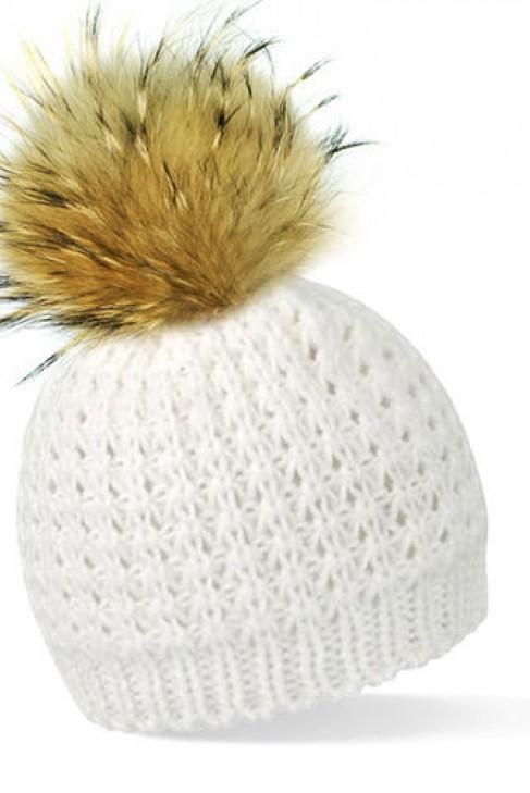 1086ed3441ac07 Weiße Bommelmütze mit braunem Fell-Bommel kaufen im Dein Pelz Online ...