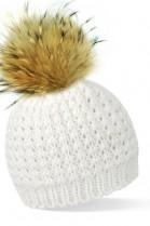 Weiße Bommelmütze mit braunem Fell-Bommel