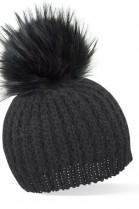 Schwarze Bommelmütze mit schwarzem Fell-Bommel