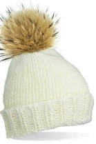 Bobble hat in white with brown fur Bommel