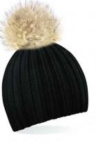 Schwarze Bommelmütze mit hellbraunem Fell-Bommel