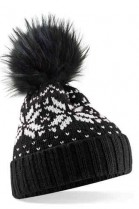 Black bobble hat with black fur bobble