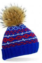 Blue bobble hat with brown fur bobble