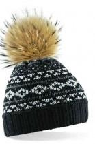 Black bobble hat with brown fur bobble