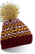 Dark red bobble hat with brown fur bobble