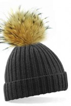 Anthracite bobble hat with brown fur pompom