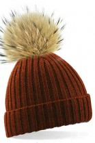 Brown bobble hat with brown fur bobble