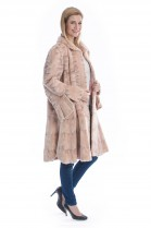 Premium Nerz Swinger rosa Luxus Pelz Mode Mink Fell Mantel