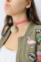 Echt Pelz Fell Halskette Rosa Halsband Bommel