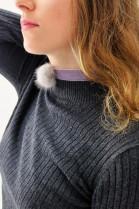 Echt Pelz Fell Halskette Grau Halsband Bommel