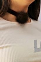 Echt Pelz Fell Halskette Braun Halsband Bommel