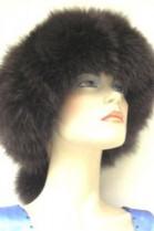 Blue fox fur strip fur headband Headband - Dark Brown