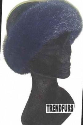 Nerz Stirnband Pelz Band Fellstirnband - Dunkel Blau