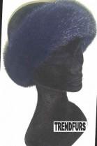 Mink fur headband band fur headband - Dark Blue