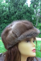 Real Fur Mustard Nature Hat Cap Cap
