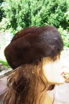 Genuine fur hat cap mink brown