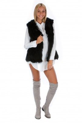Fox fur vest black fur vest fashion blogger vest fox