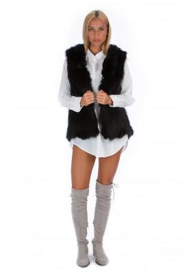 Fuchs Fellweste schwarz Pelzweste Fashion Blogger Weste Fox
