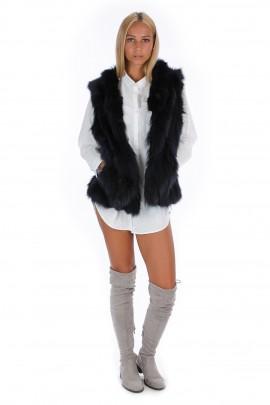 Blogger Fuchs Weste schwarz Fellweste echt Pelz Fashion Look