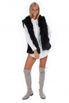 Blogger fox vest black fur vest genuine fur fashion look