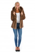 Fashion Blogger Mink Fur Coat Hooded Pastell Saga Mink Fur