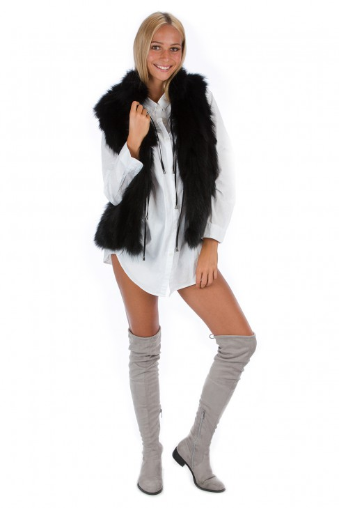 Fashion Blogger Fuchs Weste schwarz Pelz Mode Luxus Style
