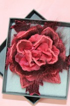 Fur brooch red rose to infect luxury fur fashion