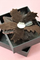 Fur brooch brown rose to infect luxury fur fashion