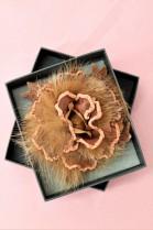 Fell Brosche hellbraun Rose zum anstecken Luxus Pelz Fashion