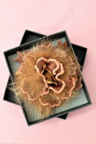 Fur brooch light brown rose to infect luxury fur fashion