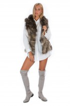 Fox fur vest gray brown Luxury fur unique Fox Fashion