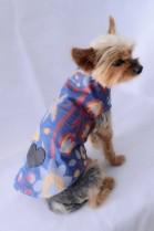 LUXUS Hunde Mantel Stoffmantel mit Leder Herz gemustert NEU