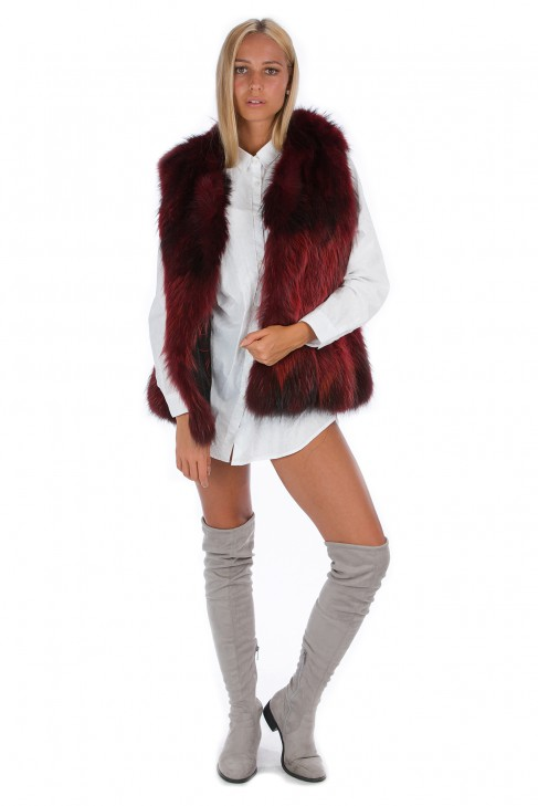 Blogger Fell Weste rot Fox Pelz Fashion Style Fox Mode