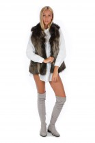 Fox vest brown white blogger fur vest fox fur fashion