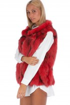 Fox fur vest red luxury fur Fashion Blogger Fashion