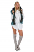 Fox fur vest green fur vest fashion blogger style fashion
