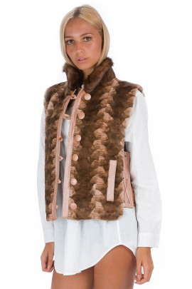 Mink fur vest brown luxury fur Fashion Style Blogger Fashion