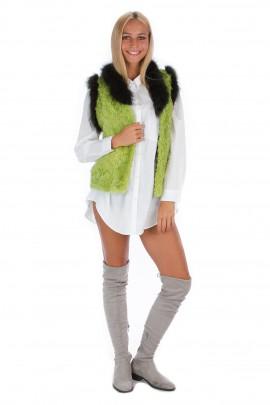 Lammfell Weste grün Fuchs Umrandung Pelz Fashion Fell Style