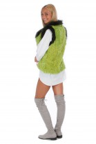 Lambskin vest green fox bordering fur Fashion Fell Style