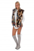 Multicolor mink fur vest genuine fur fashion style luxury fashion