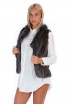 Mink fur vest fox collar luxury blogger fur fashion