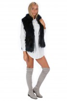Fox vest with leather straps luxury fur fashion fur style