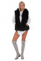 Fox vest black genuine fur fashion fur style