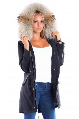Parka mit Fellkapuze XXL Natur braun Fashion Blogger Style