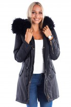 Parka mit Fellkapuze XXL black Fashion Blogger Style
