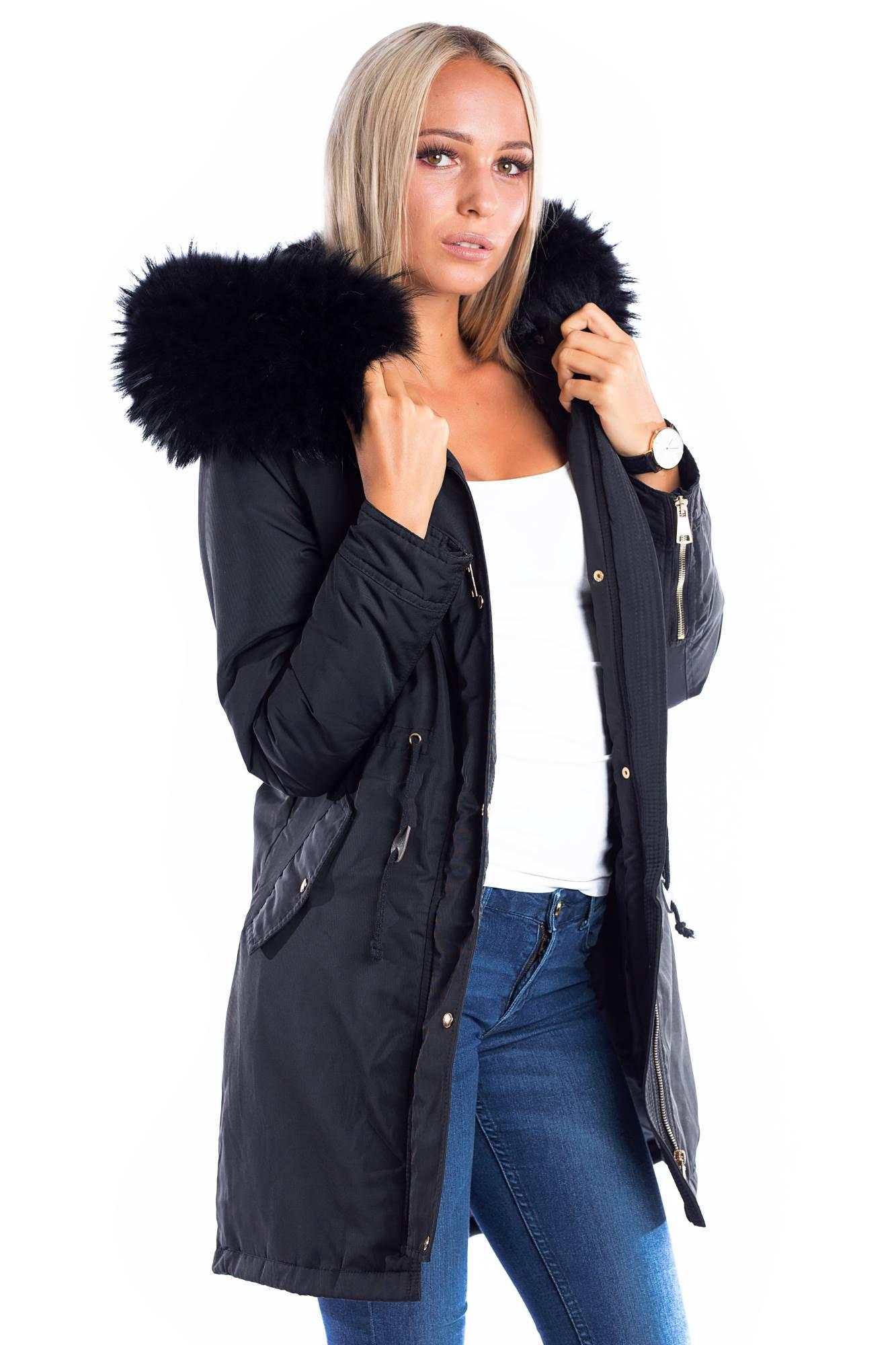 timeless design 11ca2 90514 Parka mit Fellkapuze XXL black Fashion Blogger Style